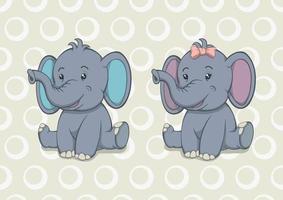 dibujos animados bebé elefante niño y niña vector