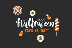 Halloween card with hand drawn colored lollipops.Trick or Treat vector