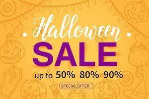 Halloween Sale poster with hand drawn icons. Up to 50,80, 90 vector