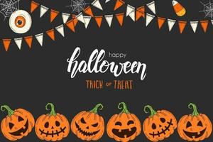 Halloween card with hand drawn colored pumpkins Jack and garlands. vector