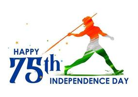 Indian Javelin Thrower for 75th Independence Day of India vector