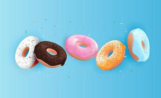 Realistic 3d sweet tasty donut background. vector