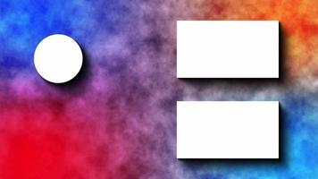 video de pantalla final con diseño multicolor y efecto humo.