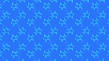 animering av rörliga stjärnor på blå, grön och svart bakgrund. video