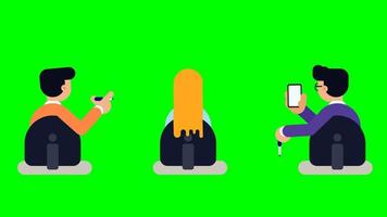 Animation of character sitting on chair looking towards the presenter. video
