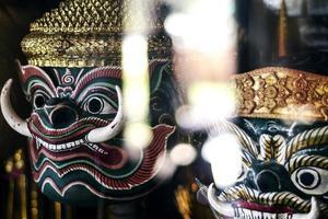 Traditional Lakhon Khol Khmer dance masks on display at Wat Svay Andet pagoda near Phnom Penh Cambodia photo