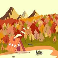 Autumn Mountain Cabin Scenery vector