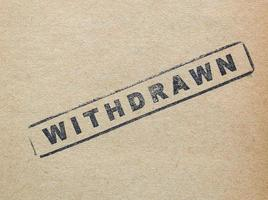 Withdrawn stamp on paper photo
