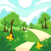 Flat Nature Landscape Scene Background vector