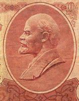 Retrato de Lenin en billetes rusos vintage foto