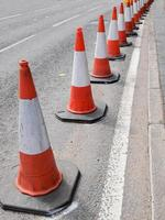 Traffic cones in the street photo