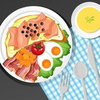 Healthy breakfast set on the table vector
