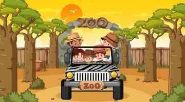 Zoo at sunset time with many kids in a jeep car vector