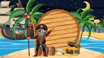 Pirate kids at the beach scene with an empty wooden banner template vector
