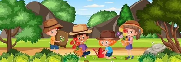 Outdoor scene with gardener kids at the nature park vector