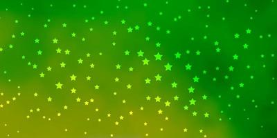 Dark Green vector background with small and big stars.