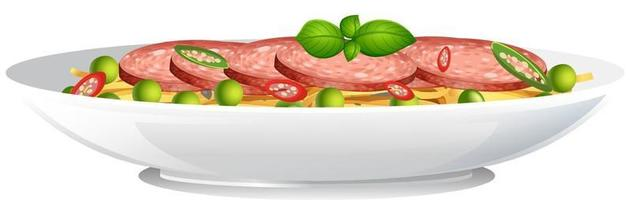 Side view of spaghetti bowl isolated vector