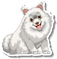 Sticker design with white pomeranian dog isolated vector
