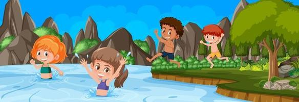 Outdoor scene with many kids swimming at the nature park vector