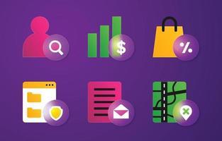 conjunto de iconos de morfismo de vidrio de negocios vector