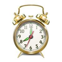 School alarm clock with bells, gold color.  Back to school. vector