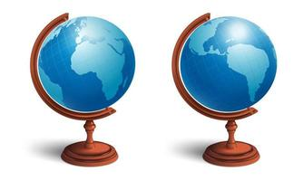 School globe set. View from two sides. Planet earth with continents. vector