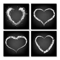 Hearts drawn on a black chalkboard. Freehand drawing in chalk. vector
