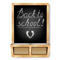 Black chalkboard with chalk shelf. Back to school. vector