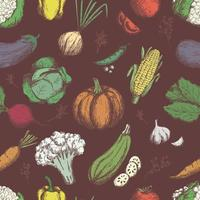 Freehand drawing vegetablesseamless pattern vector