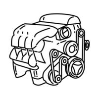 Car Engine Icon. Doodle Hand Drawn or Outline Icon Style vector