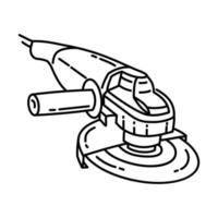 Angle Grinder Icon. Doodle Hand Drawn or Outline Icon Style vector