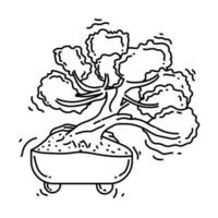 Gardening bonsai icon. hand drawn icon set, outline black, vector