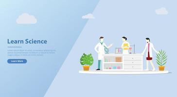 team of laboratory learn science for website banner vector