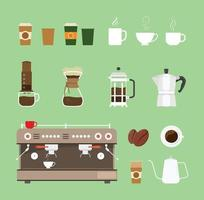 coffee machine tools equipment set collection vector