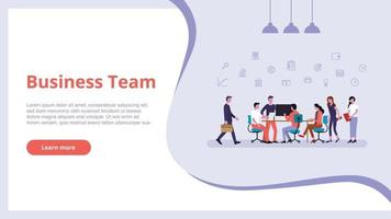 business team people work finance concept for website template vector