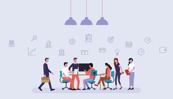 business team working together in office with financial icons vector