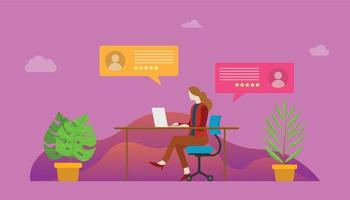 live chat woman people on front of laptop and desk with icon symbol vector