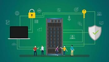 data security concept with people server and secure icon database vector
