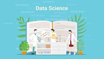 data science concept with laboratory team working on data vector