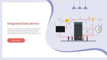 integrated data service concept with people for website design vector
