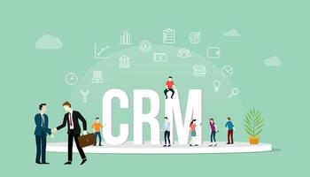 crm customer relationship management concept with people and business vector