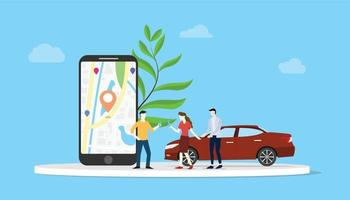 online car sharing for city transportation with people and smartphone vector