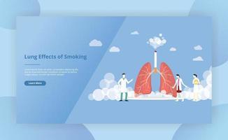 concepto de cigarrillo de humo de pulmones para la página de plantilla de sitio web vector
