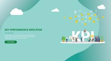 diseño de banner de plantilla de sitio web de concepto de indicador clave de rendimiento vector