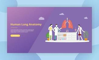 team of doctor discuss and teaching human lung anatomy vector