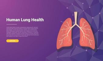 human lung template banner design with free space for text vector