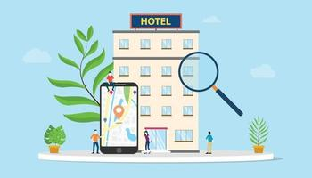 find hotel or search hotels concept with smartphone maps gps vector
