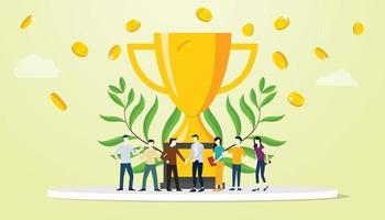 team people success business with big golden trophy vector