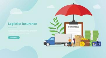 logistics insurance with some stack cardboard with big umbrella vector