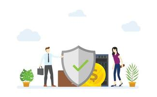 business protection concept with big shield protect vector
